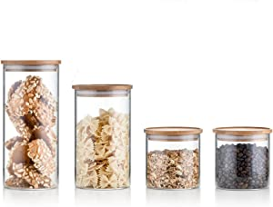 Sweejar Glass Food Storage Jar with Lids,Airtight Canisters Sets for Kitchen,Food Storage Container with Bamboo Lid for Serving Tea, Coffee, Spice and More (4-pcs-set)