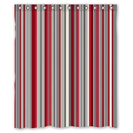 Image Unavailable Not Available For Color ZHANZZK Red Gray Vertical Stripes Waterproof Bathroom Shower Curtain