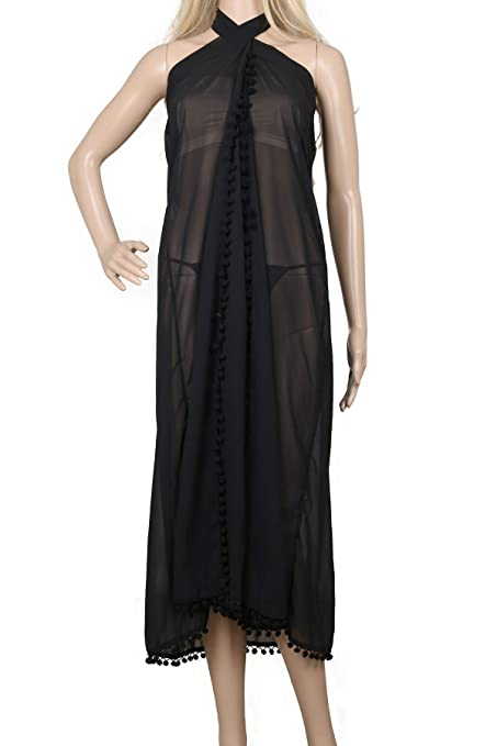 C3 Black LD DRESS Womens Chiffon Cover up Swimwear Beach Sarong Pareo Canga Swimsuit Wrap