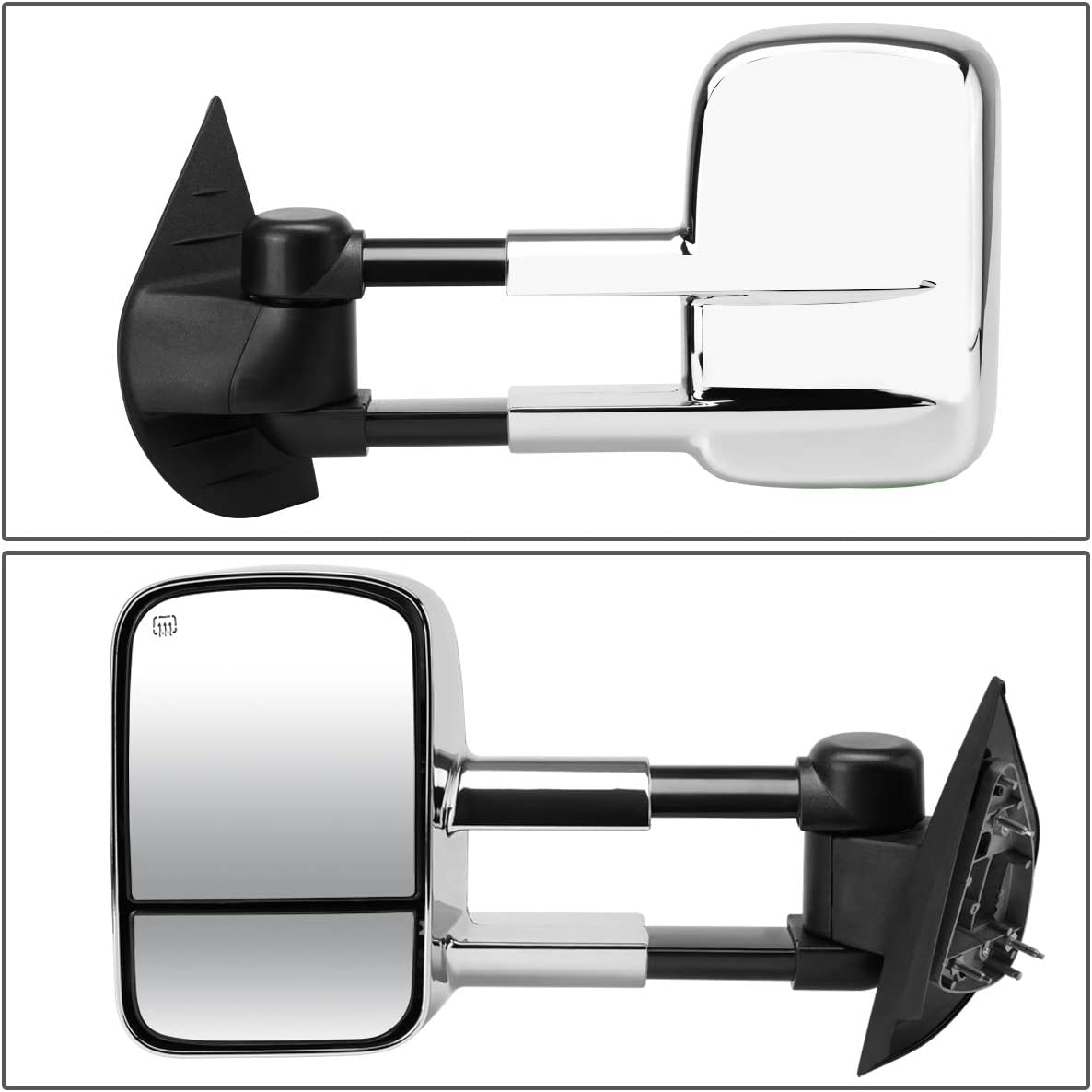 Driver and Passenger Sides DNA motoring TWM-020-T111-BK Pair of Towing Side Mirrors