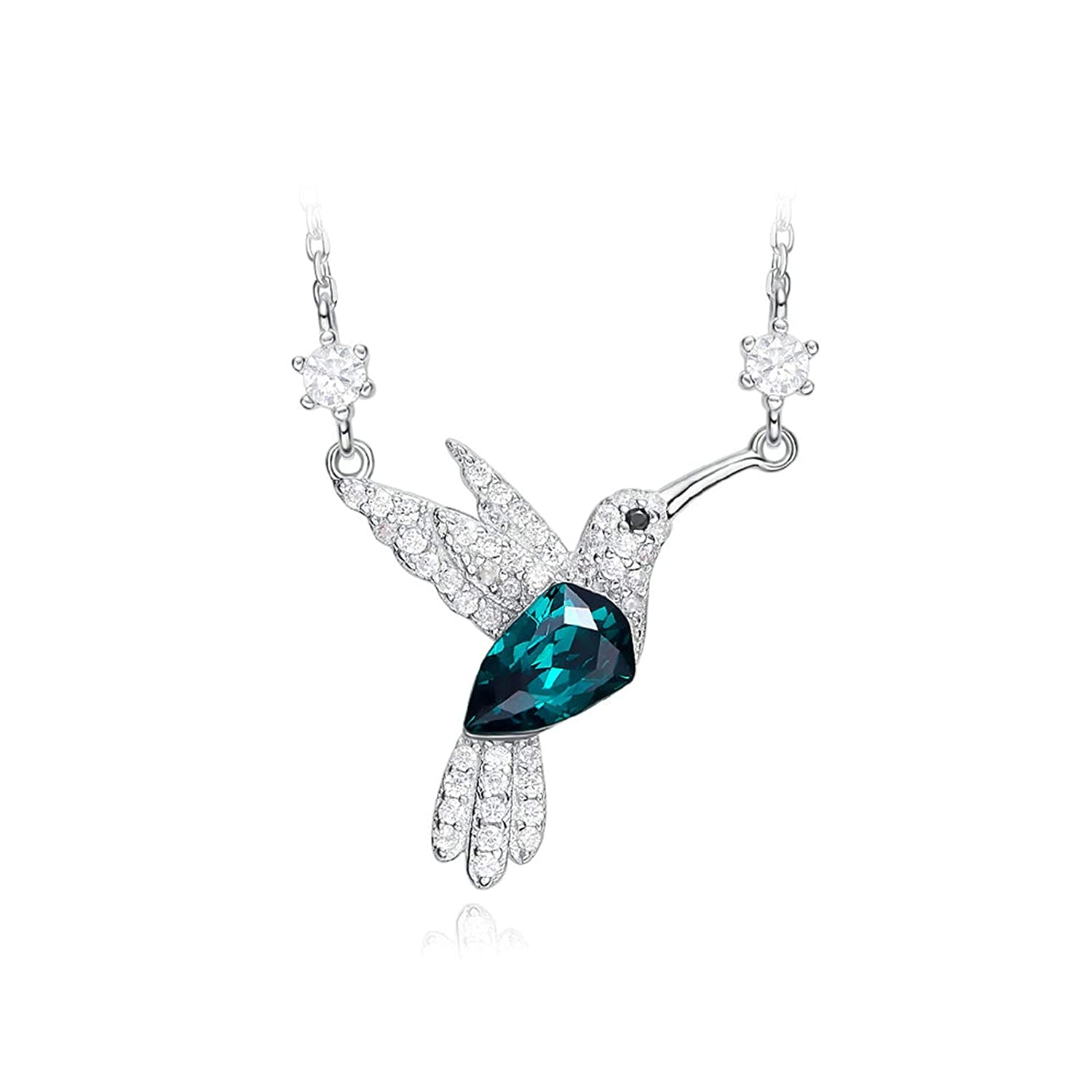 Adisaer Crystal Necklace Rhinestone Sterling Silver Plated Lovebirds with Green Czwomens Necklace Layered