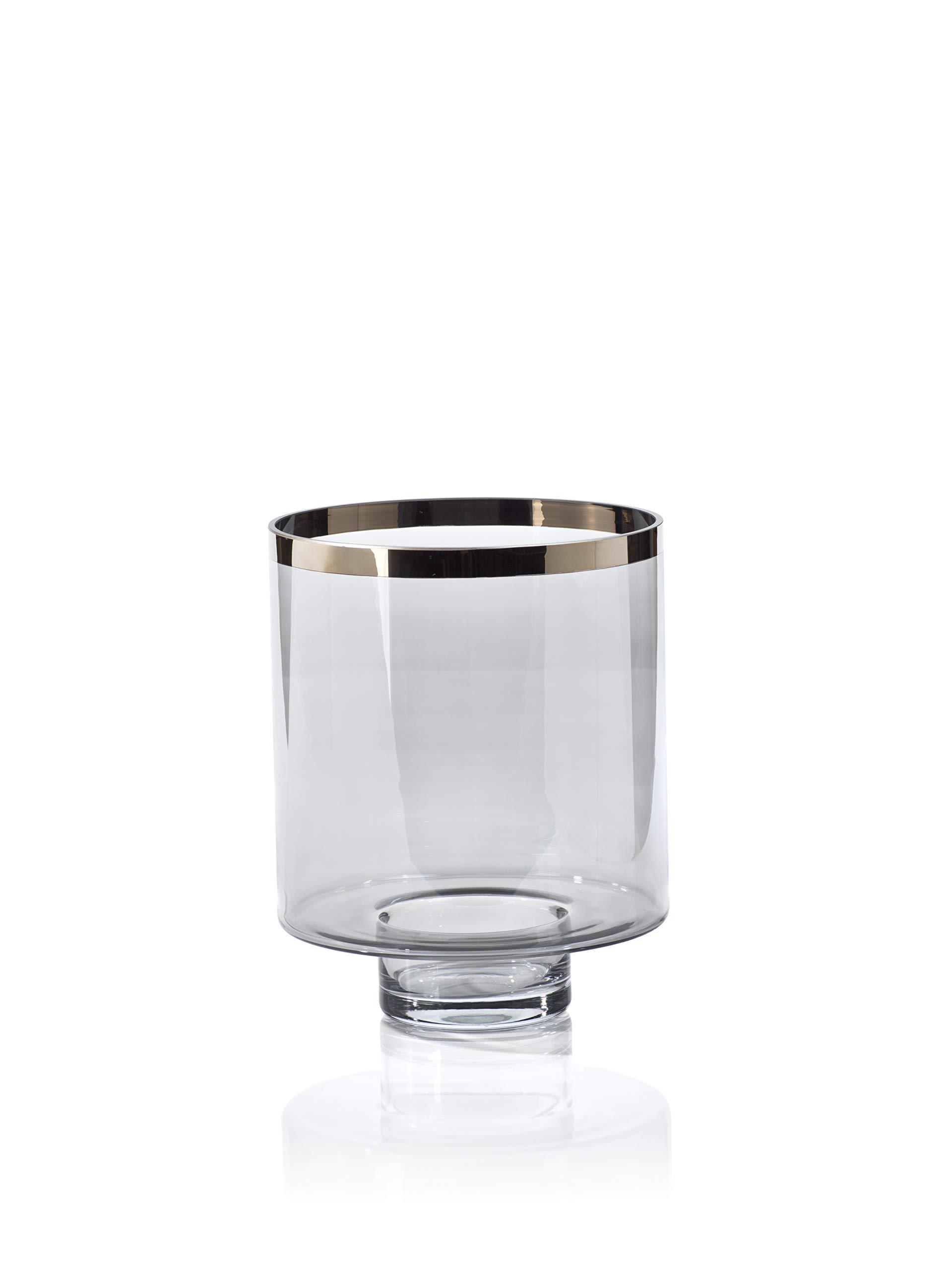 Zodax Black Luster Glass Platinum Rim, Large Hurricane, Gray