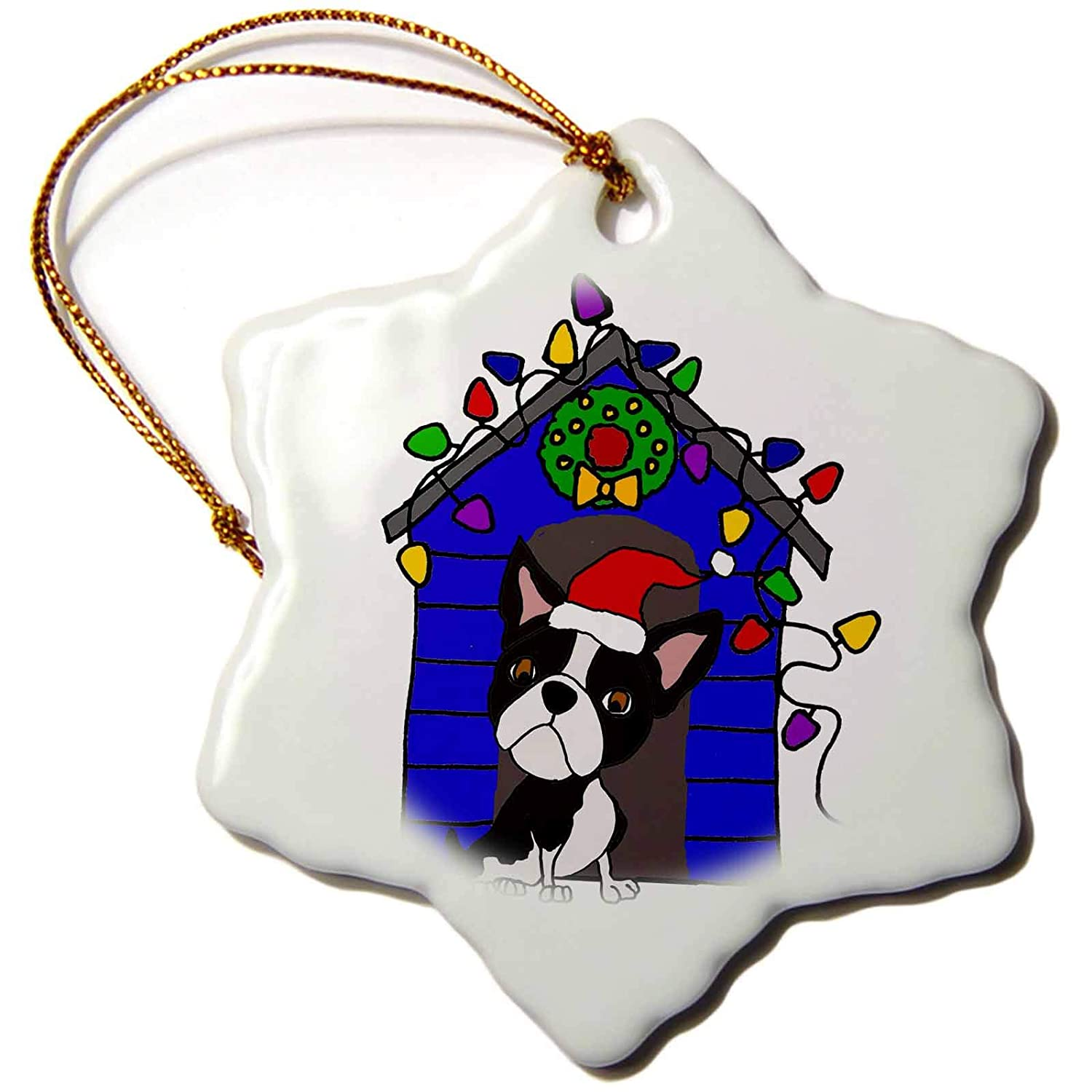 ORN/_270058/_1 3 inch Snowflake Porcelain Ornament 3dRose All Smiles Art Christmas Fun Cool Boston Terrier Dog with Christmas Lights Doghouse
