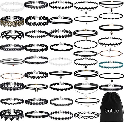 - Outee Choker Sets, 55 Pcs Black Choker Necklace Set 2018 Lace Choker Stretch Tattoo Choker Velvet Set Tattoo Necklaces Lace Choker Tattoo Necklaces for Womens Girls