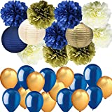 Navy Blue Gold Cream Party Decorations Kit Hanging Tissue Paper Pom Poms Paper Lanterns with Balloons Set for Nautical Party Baby Shower Bridal Shower Wedding Birthday Party Supplies