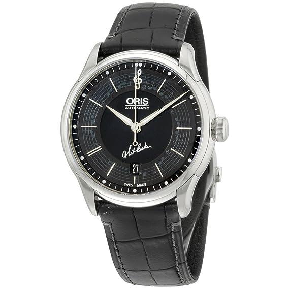 Oris Mens Negro Dial reloj de pulsera de piel, 73375914084lsblkxg (Certificado Reformado)