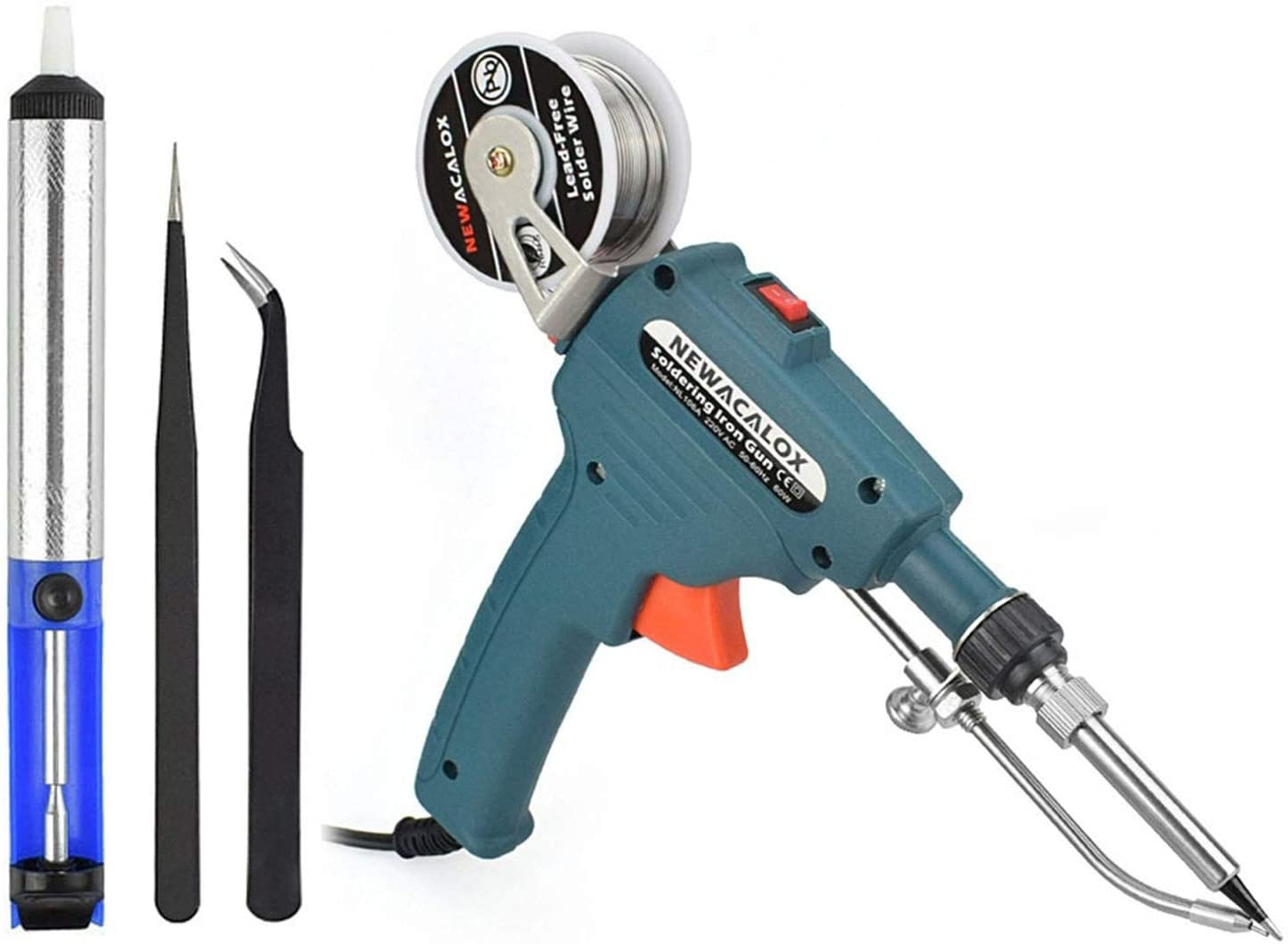 Electric Solder Gun Kit Tool Automatic Feed w// Desoldering Pump//Tweezer//Tin