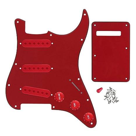 FLEOR guitarra eléctrica Pickguard placa trasera Set con botones de Control de 2t1 V 52 mm