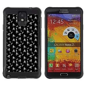 Qstar Arte & diseño Anti-Slip Shockproof TPU Fundas Cover Cubre Case para SAMSUNG Galaxy Note 3 III / N9000 / N9005 (Skull And Bone)