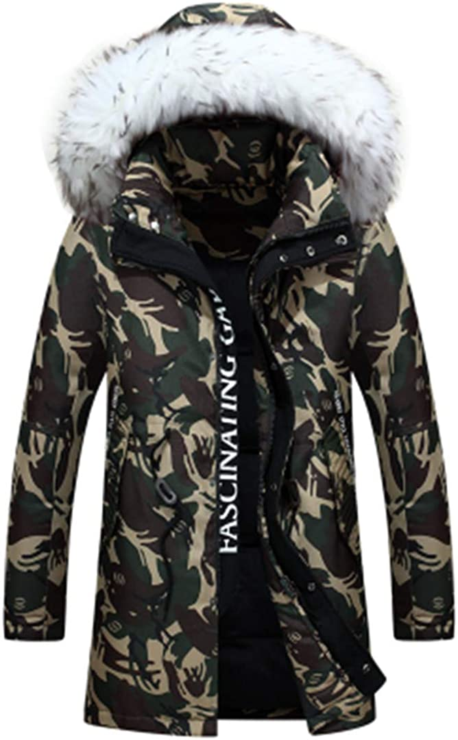 Mens Fashion Camouflage Pattern Long Jacket Thickening White Duck Down Coats