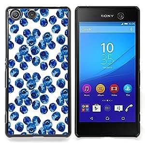 """For Sony Xperia M5 Case , Blueberry Acuarela Porcelana Azul"""" - Diseño Patrón Teléfono Caso Cubierta Case Bumper Duro Protección Case Cover Funda"""