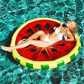 FORTR Sports Súper Ronda sandía Inflable Fila Flotante Anillo de natación Agua Adulta Cama Flotante Anillo de natación limón Flotador Fila 143 cm: ...