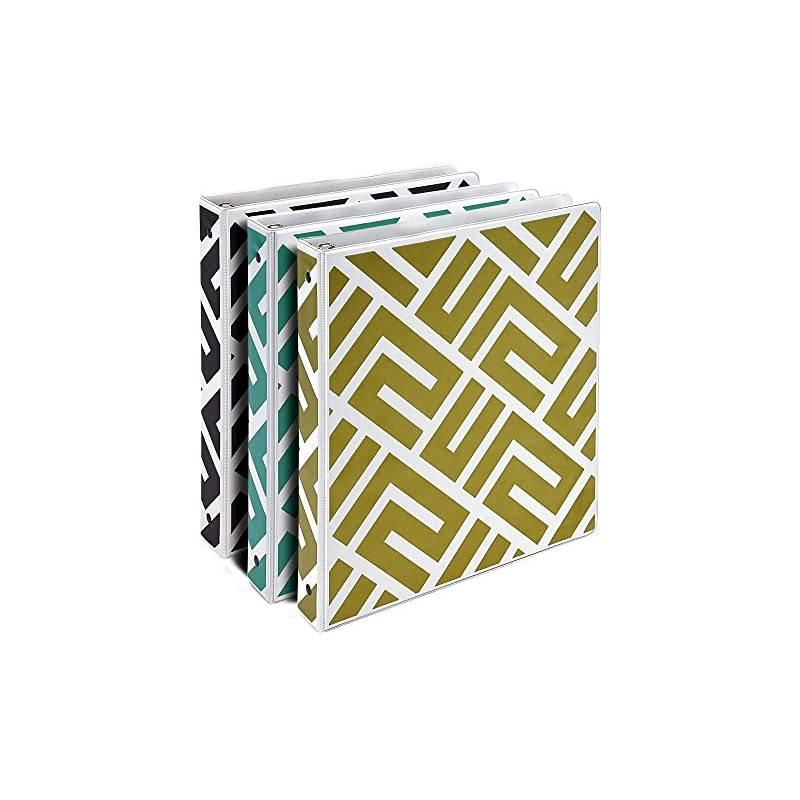 Samsill Maze Fashion Design 3 Ring Binders, 1 Inch Round Ring - Holds 225 Sheets, Assorted Colors - Black, Gold, Green - 3 Pack