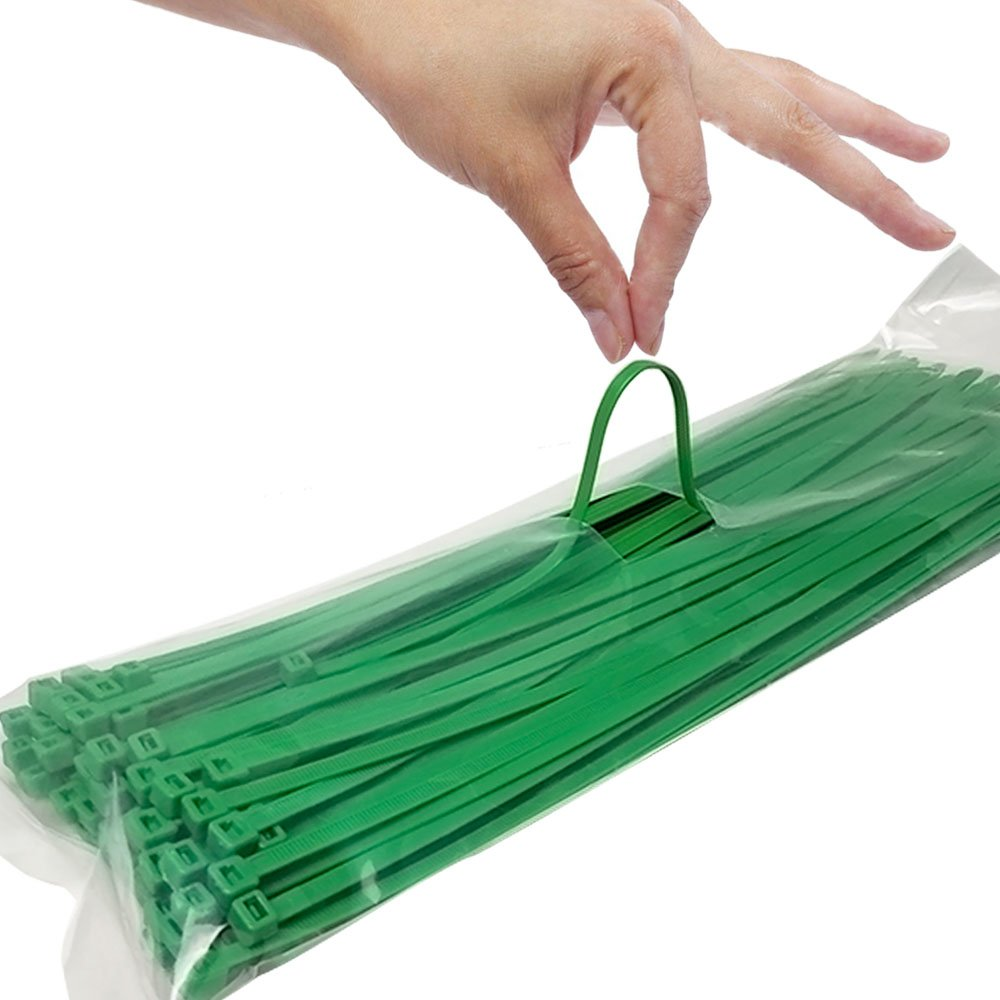 12 Inch Zip Ties, Strong Plastic Wire Ties with 40 Pounds Tensile Strength, 100 Pieces (Green)