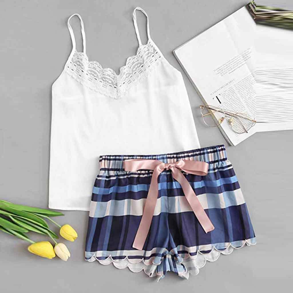 DDLmax Fashion Girls Cute Lace Lattice Print Underwear and Shorts Pajama Set