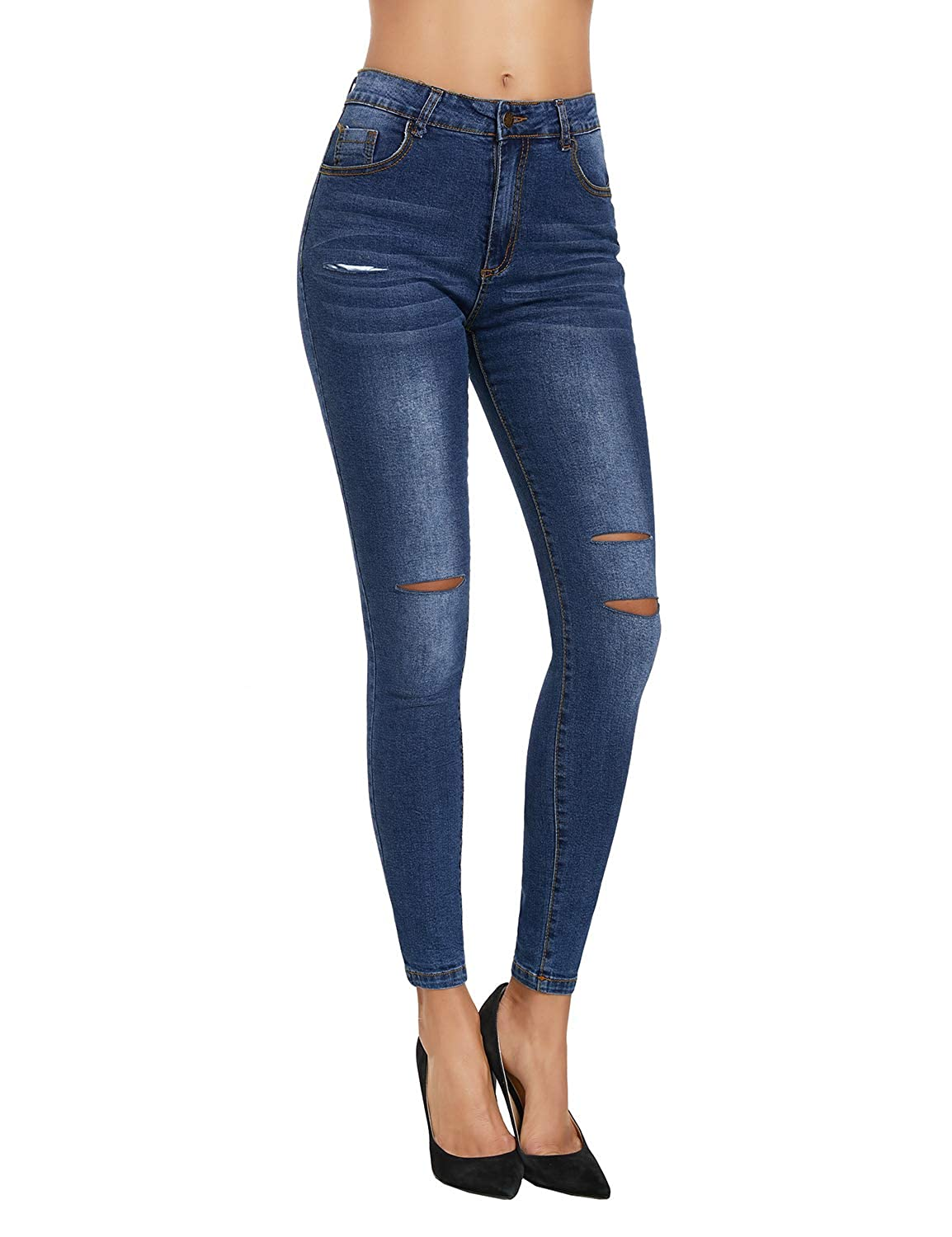 ec085cab36d This skinny jeans pants comes with ripped slits in front and slightly  fadded washed front and back. Mid rise denim trousers also comes with  traditional 5 ...