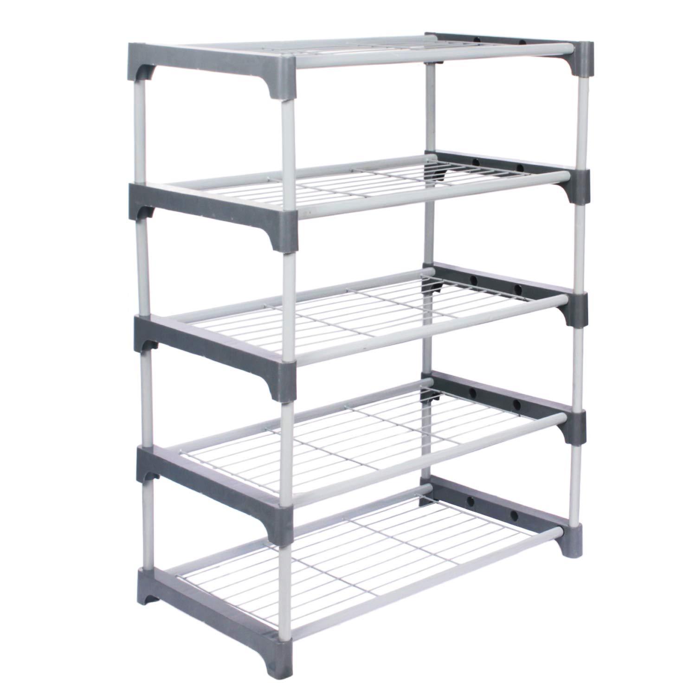Ebee Iron Shoe Stand  Grey, 5 Shelves  Home Storage   Organization