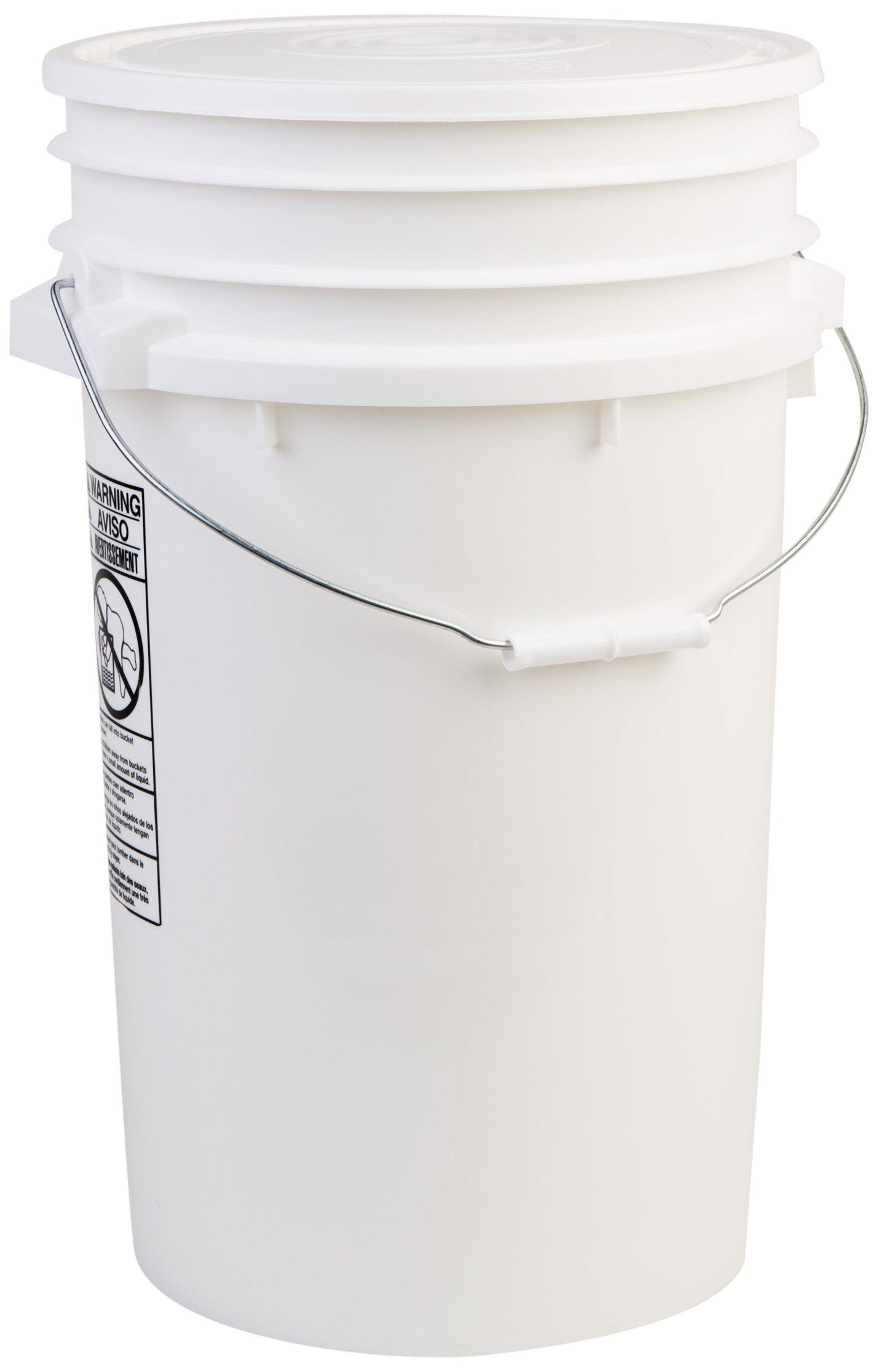 Hudson Exchange Premium 7 Gallon Bucket with Lid, HDPE, White