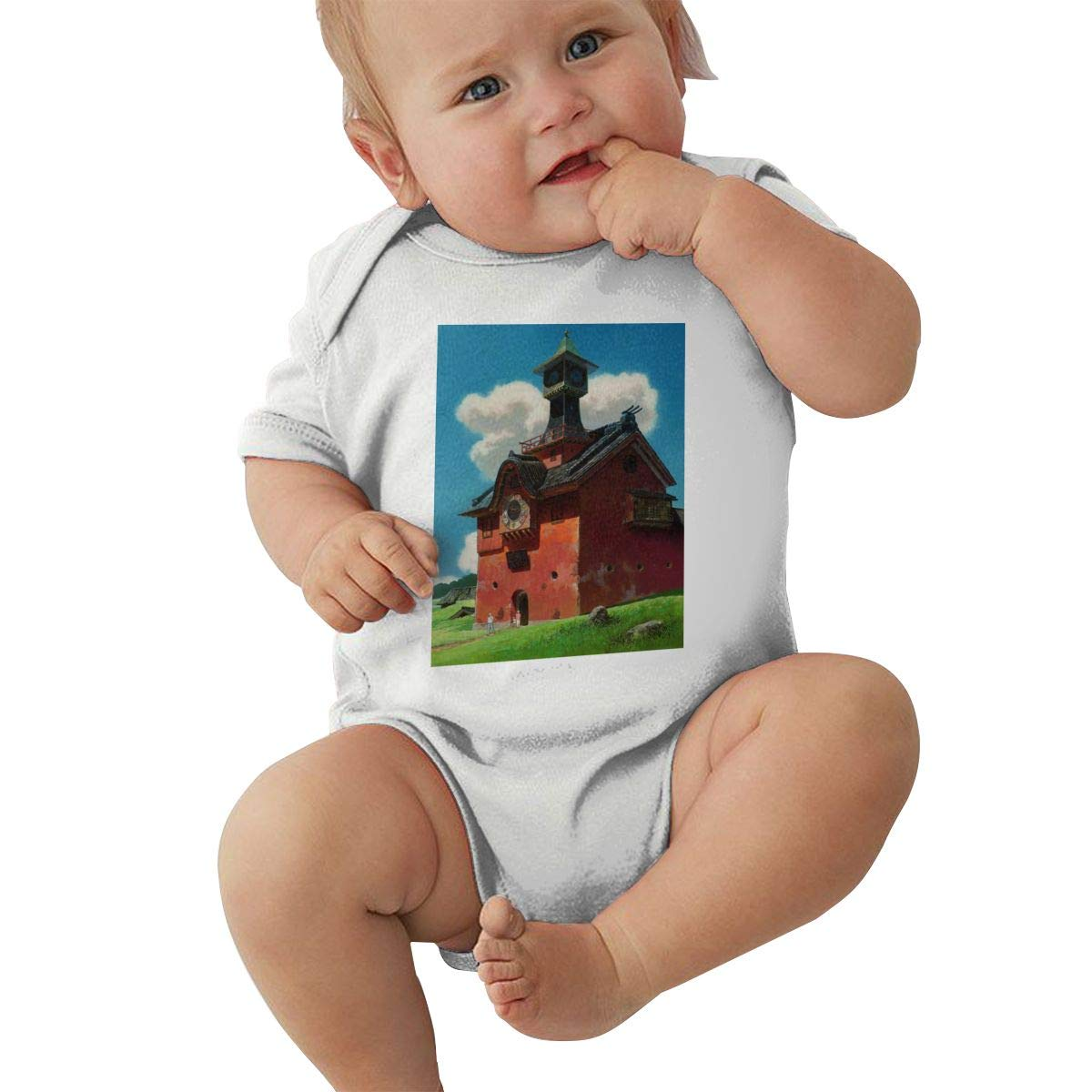 Juwuwenhuachua Baby Crew Neck Short-Sleeve Climbing Clothes Spirited Away Funny Jumpsuits Sleepwear Black
