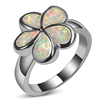 Amazon cywna flower type white fire created opal 925 sterling cywna flower type white fire created opal 925 sterling silver filled engagement wedding party ring size mightylinksfo
