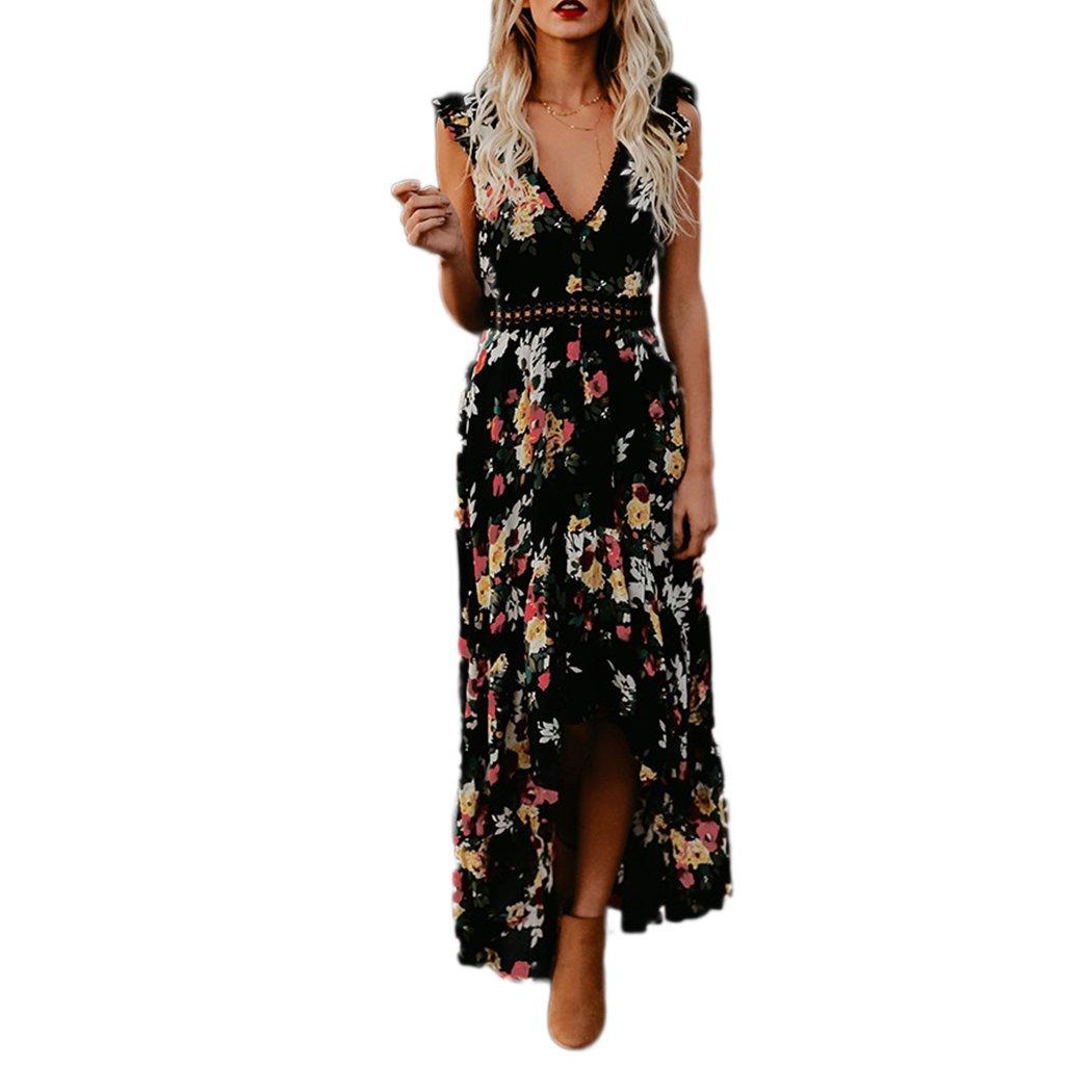 69423a94dabbc2 HANMAX Damen Rückenfrei Blumenkleider Meerjungfrau Boho Strandkleid  Sommerkleid Maxi Abendkleid Partykleid: Amazon.de: Bekleidung