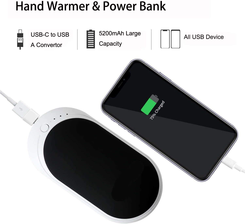 Reusable Portable Hand Warmer Heater /& Power Bank 3 Levels Heating YAGU Hand Warmer 5200mAh Rechargeable Ideal Winter Gift