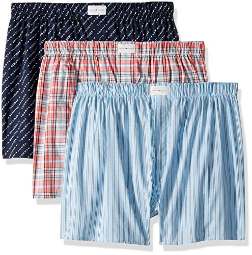(Tommy Hilfiger Men's Underwear Multipack Cotton Classics Woven Boxer, Red, X-Large)
