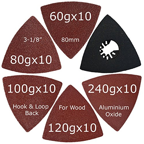 XXGO 51 Pcs Triangular 3-1/8 Inch Hook and Loop 60 80 100 120 240 Grits Oscillating Multi Tool Sandpaper and Triangle Multitool Sanding Pads Kits
