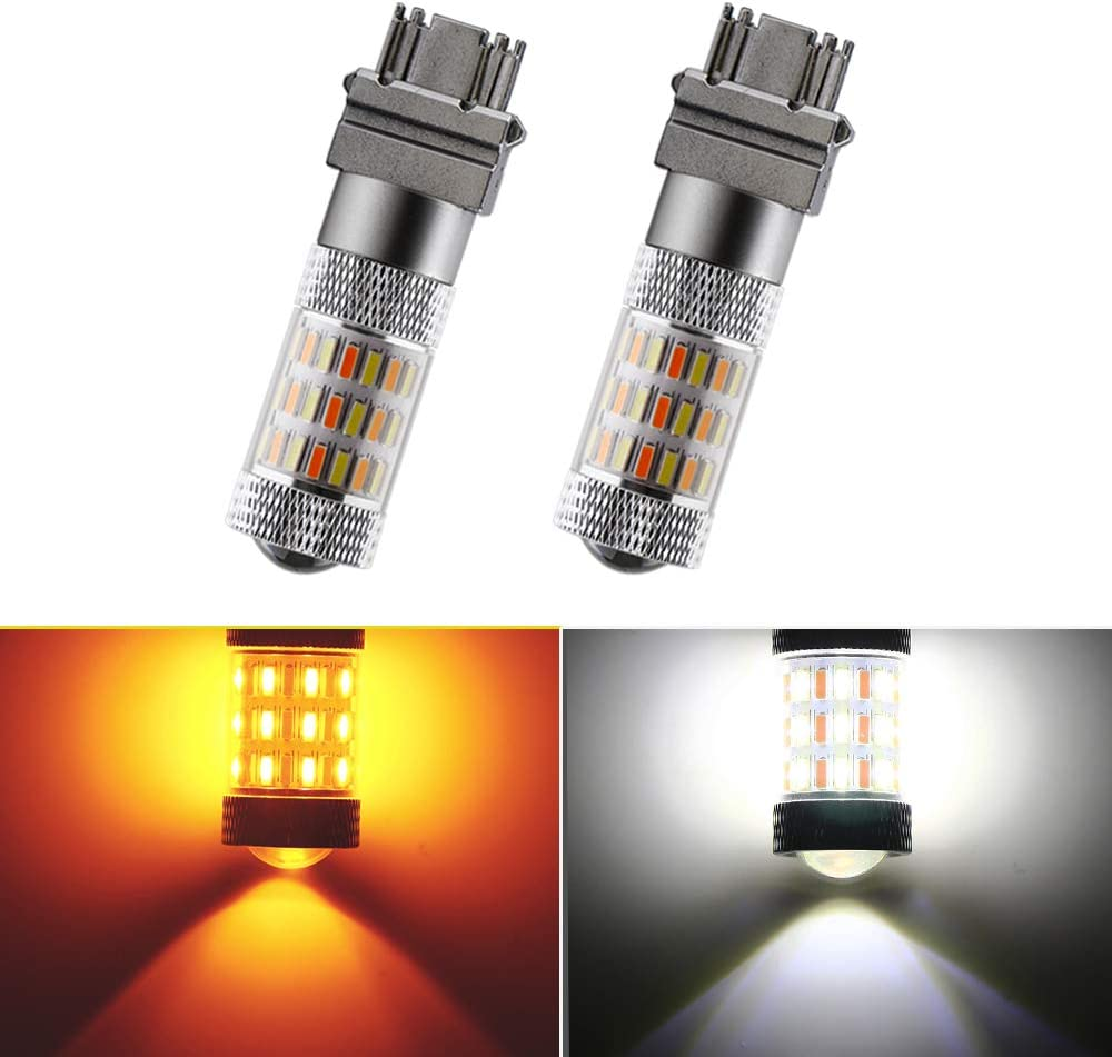Amber Switchback 60-SMD 4014 Chipsets LED Bulbs For Turn Signal Lights Cross Reference 3047 3057 3057A 3155 3157 3157A Everbright 2-Pack 3157 Super Bright White