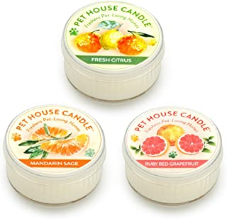 product image for One Fur All Pet House Mini Candle Set, Pack of 3 – Citrus - Pet Odor Eliminator Candle, Burn Time - 10-12 Hours Pet Candle, Non-Toxic, Ideal for Smaller Spaces