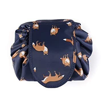 f863c943e8 Amazon.com   Adigow Lazy Drawstring Cosmetic Bag Large fox Makeup Bag  Waterproof Portable Quick Pack Travel Bag for Women   Beauty