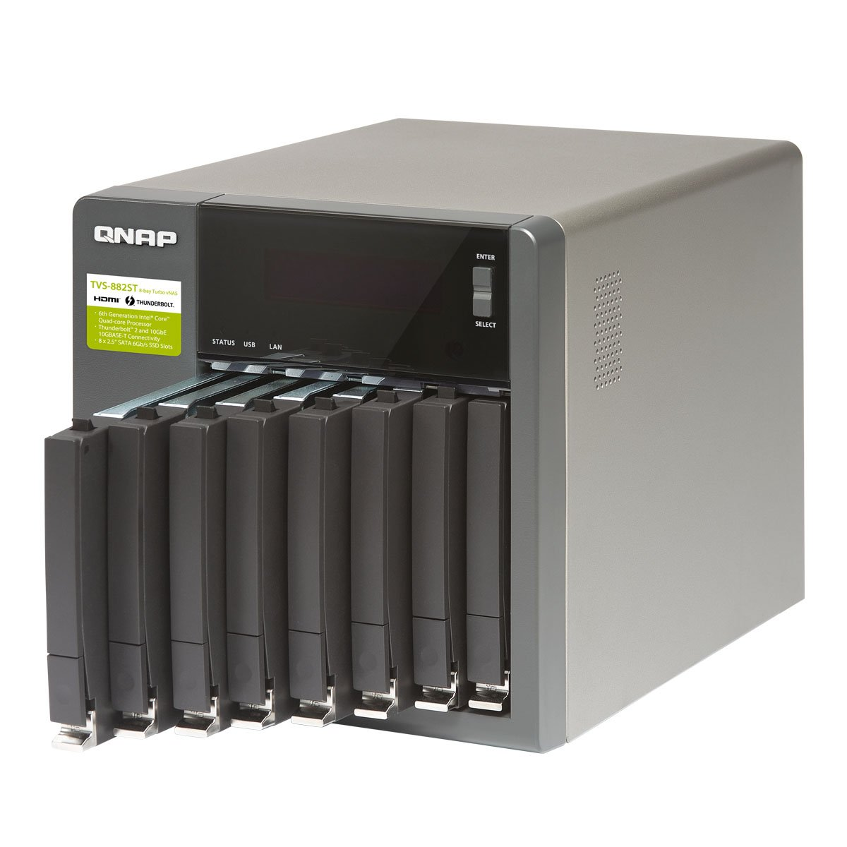 Qnap TVS-882ST2-i5-8G-US High Performance and Compact 8 bay Thunderbolt 2 DAS/NAS/iSCSI IP-SAN Solution by QNAP (Image #2)