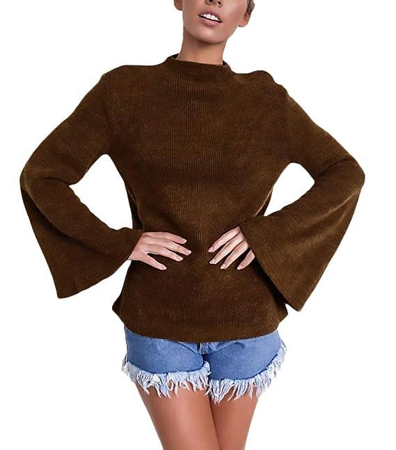 Pullover Punto Mujer Elegantes Mangas De Murciélago Cuello Redondo Slim Fit Jerseys  Otoño Invierno Fashion Basic Casual Vintage Unicolor Pullover Sweater ... 2e6f12a0da4a