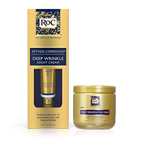 RoC Retinol Correxion Deep Wrinkle Anti-Aging With Mineral Extracts 1 oz RoC Daily Resurfacing Disks, Skin-Conditioning Cleanser