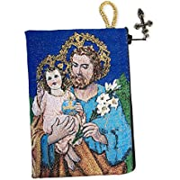 St Saint Joseph Tapestry Icon Rosary Pouch 5 3/8 Inch