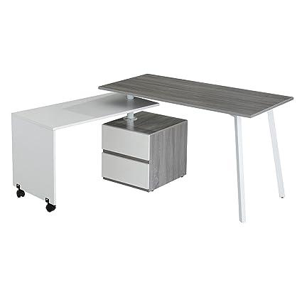 Enjoyable Techni Mobili Rotating Modular Computer Desk In Gray Interior Design Ideas Clesiryabchikinfo