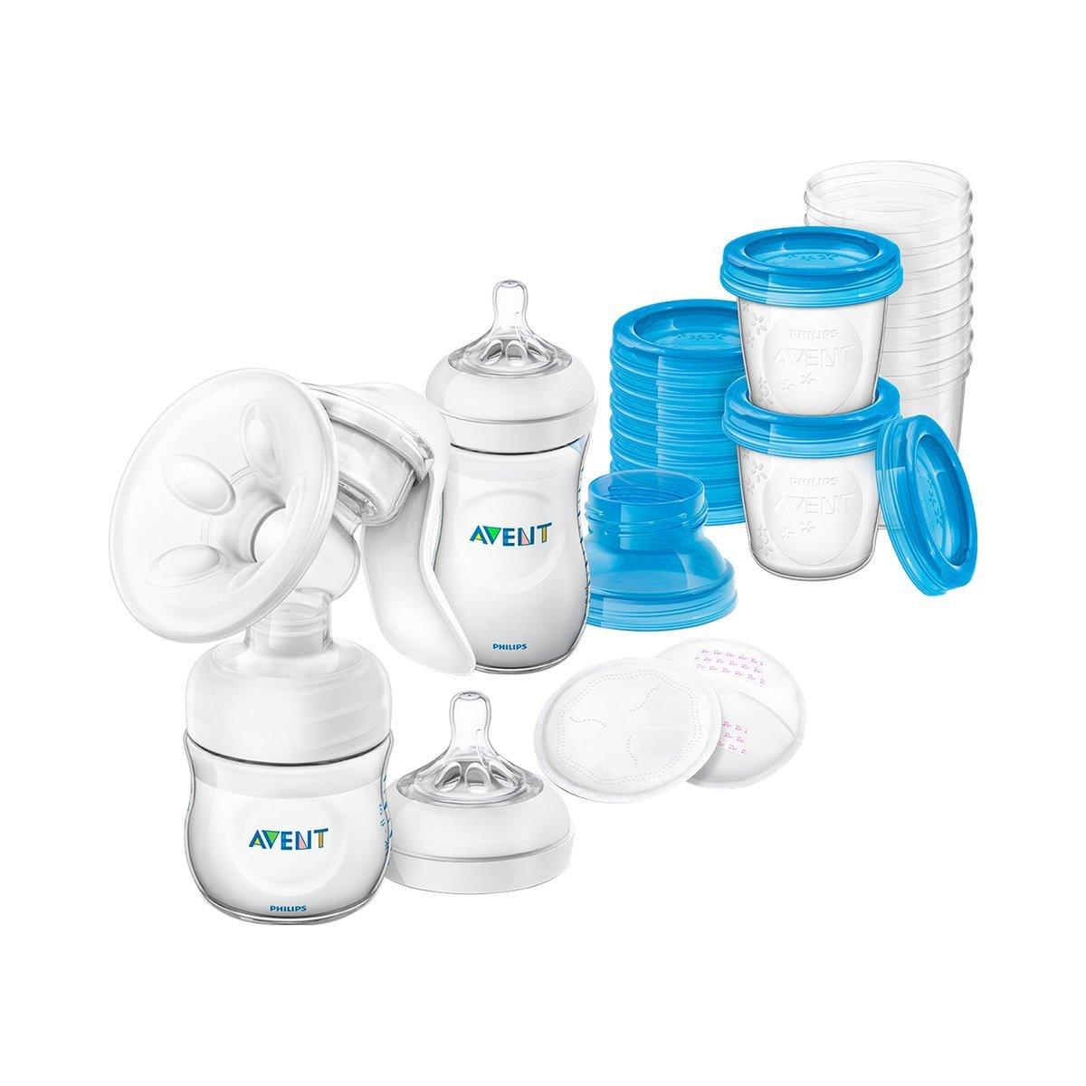 PHILIPS AVENT Still-Set mit Handmilchpumpe - SCD221-00 - inkl. Naturnah-Flasche - Aufbewahrungsbechern und Stilleinlagen