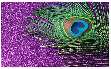 CafePress Glittery Purple Peacock 3 X5 Decorative Area Rug, Fabric Throw Rug