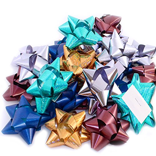 Pack of 50 Self Adhesive Metallic Gift Bows in Assorted - Assorted Bows