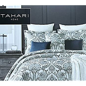 Tahari Home 3pc King Or Queen Duvet Cover Set Large Medallion Grey Taupe  White Luxury Cotton Sateen (Queen)