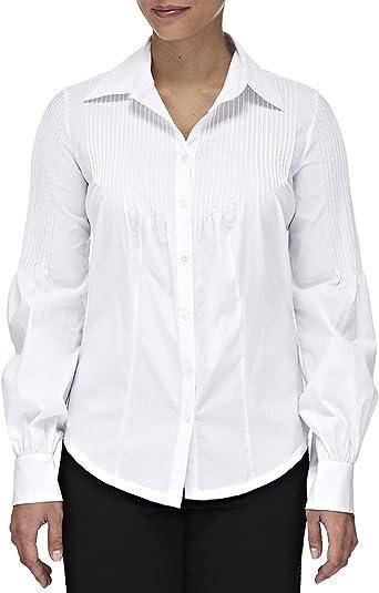 CREATIONS DOUCEL Blusa blanca de algodón LICRA: Amazon.es: Ropa y ...
