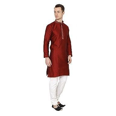 Shri India Maroon Kurta Pajama Ethnic Indian Mens Designer Traditional Wedding Wear