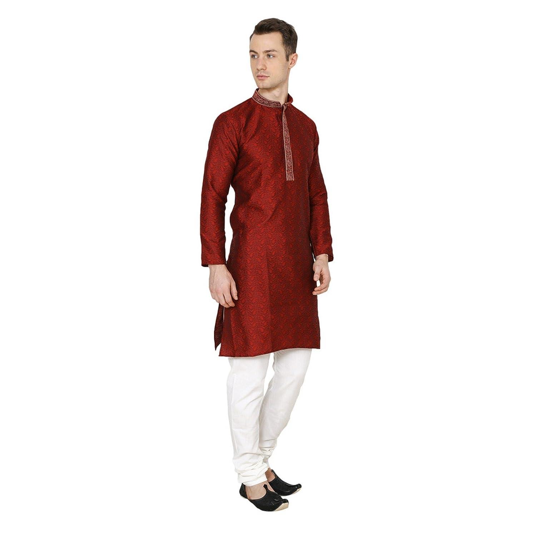 Amazon Com Royal Maroon Kurta Pajama Ethnic Indian Mens
