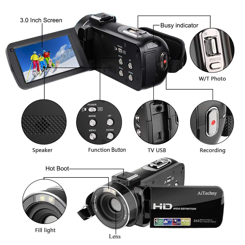 Video Camera Full HD Camcorder 1080P YouTube Vlogging Camera 16X Digital Zoom Digital Camera 3.0TFT LCD Stabilization 270 Degree Rotation Screen Face Detection Recording For Youtube Short Films With 2 Batteries
