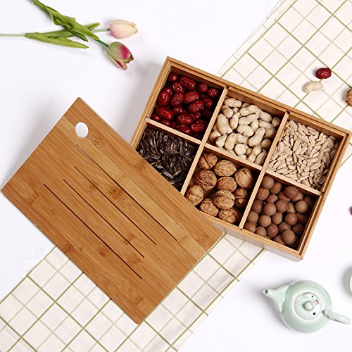 Wood Box,AOLOX Creative Bamboo Tea Bag Storage Box Multi Sectional Snack Serving Tray Set with Lid,Suitable for Tea Bag ,Dried Fruits, Nuts, Candies Holder and sock,Underwear-6 Compartments by AOLOX (Image #6)