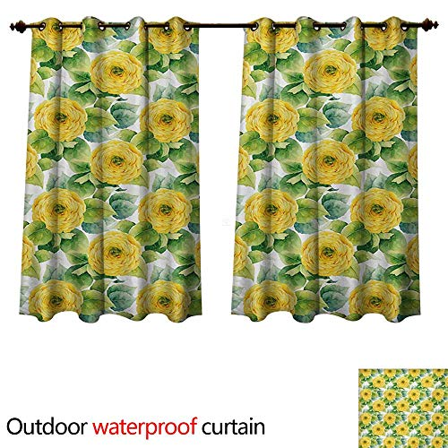 WilliamsDecor Yellow Flower Outdoor Curtain for Patio Blooming Ranunculus Gardening Bedding Plants Leaves Watercolor Artwork W120 x L72(305cm x 183cm)