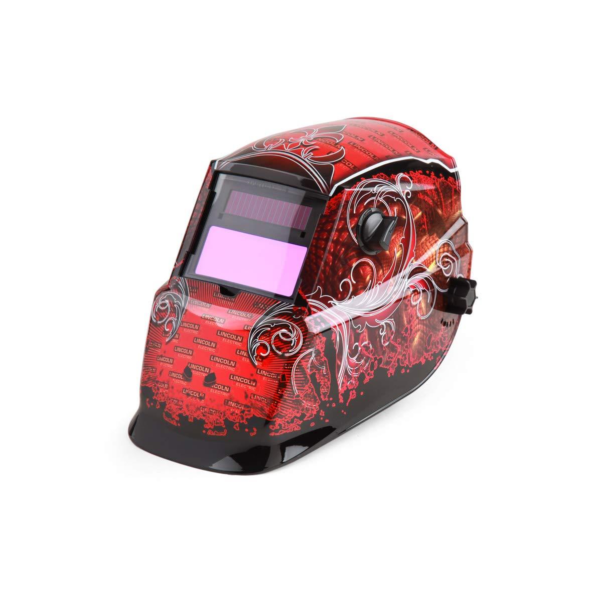 Lincoln Cheap SALE trend rank Start Electric-K2933-1 Auto Darkening Red Welding Helmet Blac