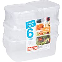 Décor Food Storage Container, Clear, Pack of 6