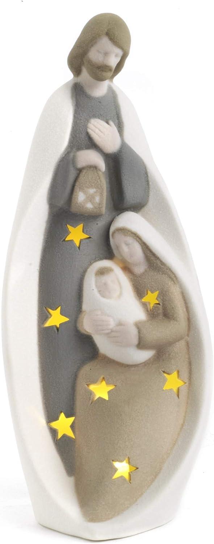Paben Articoli Religiosi Presepe Stilizzato Gruppo Nativit/à in Porcellana 18cm con Luce