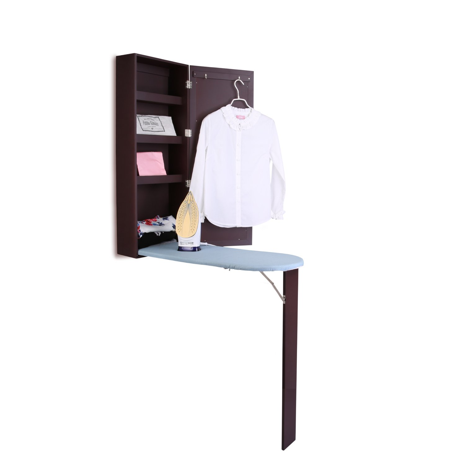 Ironing Board Cabinet,3 in 1 Wall Mount Ironing Center with Foldable Iron Board , Mirrore Cabinet & Suit Hook,Premium MDF Multi-functional Storage Shelves Ironing Board Center(Ship From USA) (Brown)